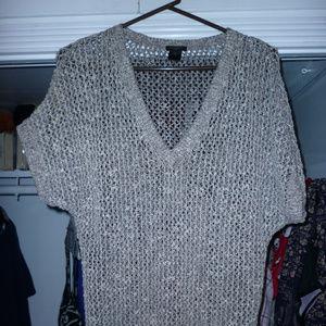 """Ann Taylor XS top cotton poly 27"""" gray see-thru"""